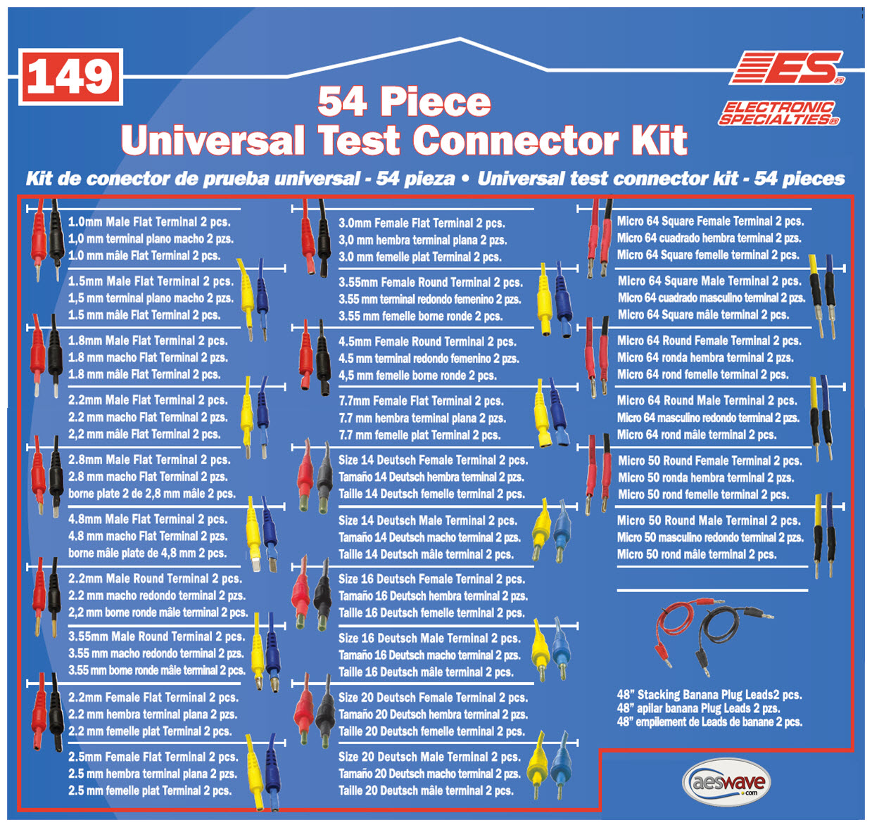 149 Piece Automotive Connector Test Kit Wiring Terminals 54