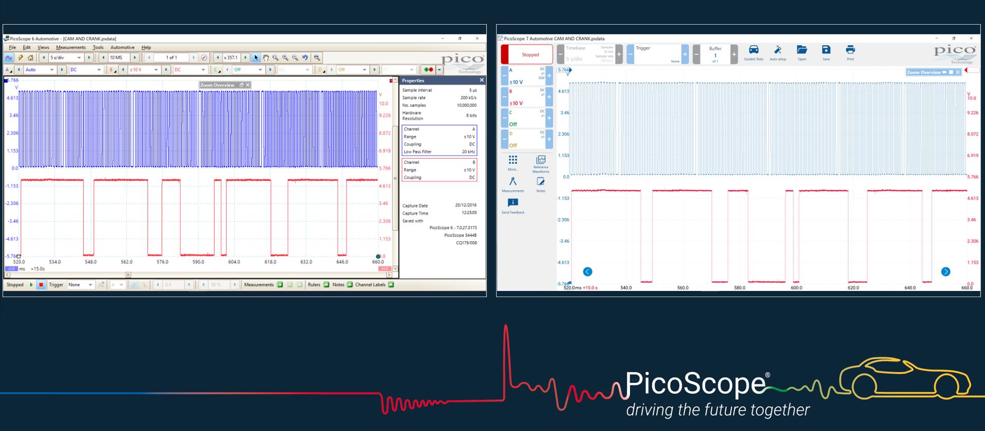 PicoScope 6 vs 7 screen layout Comparison