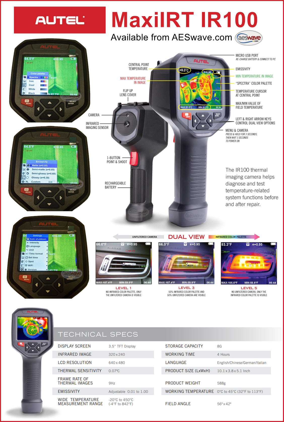 Autel MaxiIRT IR100 Thermal Camera details