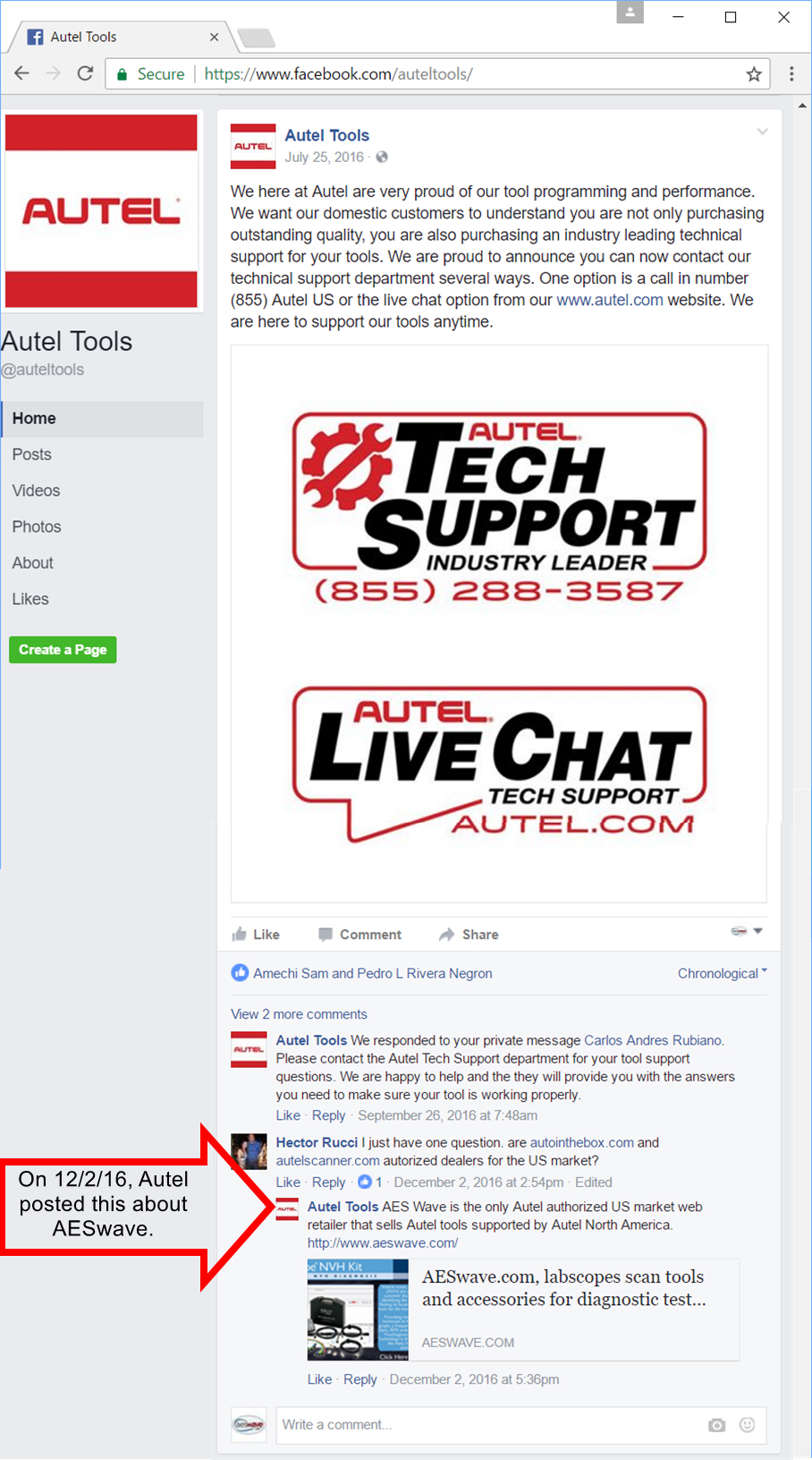 Autel's Facebook page
